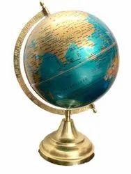 GeoKraft Green Golden Decorative Metallic Premium Globe with Golden Arc and Base