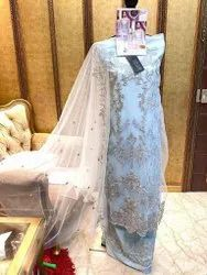 Chiffon Straight Embroidered Party Wear Suits, Handwash