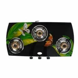 Grazle Stainless Steel 3 Burner Curve Digital Gas Stove, For Kitchen