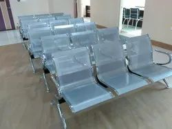 Stainless Steel Silver SS Three Seater Chair, For Hospital