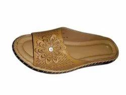 Women Daily Wear Ladies Fancy Brown Flat Slipper, Size: 3 To 9