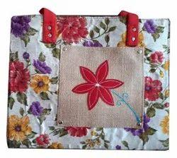 Printed Short Cotton Padded Ladies Jute Bag, Capacity: 5 Kg