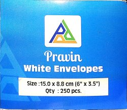 Pravin Smooth 6 X 3.5 Inch White Paper Envelope