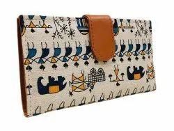 Handheld Multicolor Warli Ikat Wallet Cum Card Holder