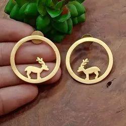 Brass Matt Gold Animal Earrings