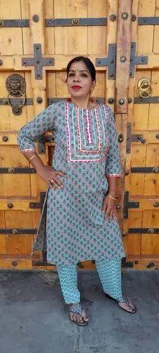 Shubha Blue Cotton Printed Kurti with Ankle Length Pant Kurti Pant Set