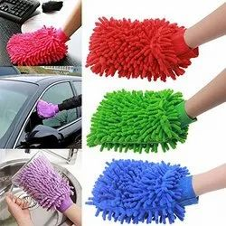Double Sided Microfiber Cleaning Gloves (Large, Multicolour)