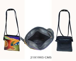 Women Black Leather Bag, Size: 21x19x5 Cms