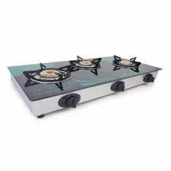 Multicolor 3 Burner Automatic Glasstop Gas Stove, For Kitchen