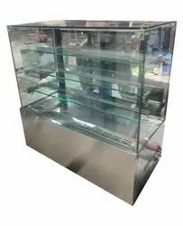 48x24x48 Inches (l*b*h) Double Door SS Refrigeration Display Case Counter, Capacity: 200 L