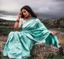 Present Lichi Silk Designer Saree With Beautiful Designing Look