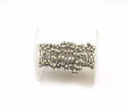 Semi Precious Silver Pyrite Wire Wrapped Handmade Black Rhodium Beaded Rosary Chain