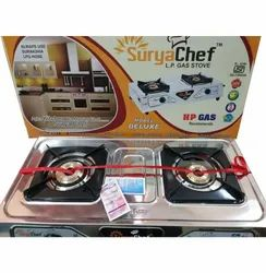 Deluxe 2 Burner SS Gas Stove, For Kitchen