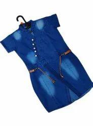 Collar Neck Half Sleeve Ladies Denim Midi Dress