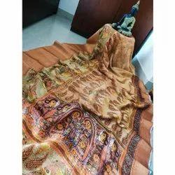 PC Banarasi Digital Printed Linen Saree, 6.3 m With Blouse Pieces