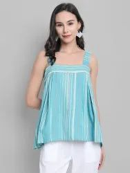 Janasya Women's Green Cotton Blend Top(J0112)