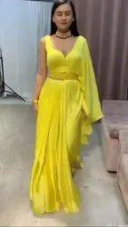 Party Wear Yellow Silk Bollywood Plain Saree for Haldi Function