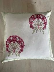 Hand block printed cotton cushion cover.