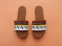 Flat Flats & Sandals Hand Painted Waterproof Ladies Sandal, For Casual Wear, Size: 36-41