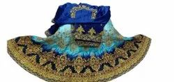 Party Wear Embroidery Ladies Blue Embroided Lehenga, 2.5 Metre