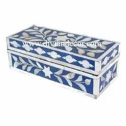 Floral Bone Inlay Pencil Storage Box