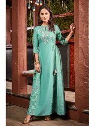 Janasya Women's Green Poly Muslin Ethnic Dress(J0100)