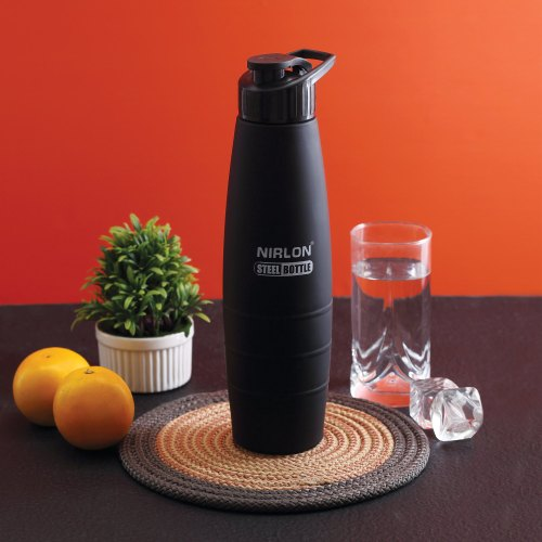 Black Stainless Steel Sipper Bottle, Freezer Bottle With Sipper Cap