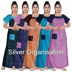 Silver Organisation Ethnic Satin Nightgown