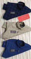 Collar Neck Mens Casual Cotton Check Shirts, Machine wash, Size: S-xxl