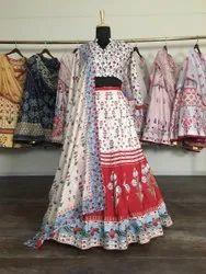 Party Wear Semi Stitched Designer Lehenga Choli, 2.5mtr