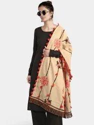 Cotton Embroidered Tiny Floral Mochi Bharat Contemprory Khadi Dupatta, Plastic Bag