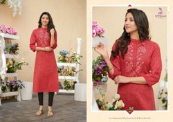 Poonam Embroidered 3/4th Sleeves Cotton Kurti, Wash Care: Handwash