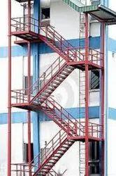 Red Mild Steel Industrial Emergency Exit Staircase