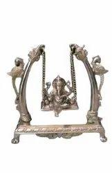 Golden Designer Brass Ganesh Jhula, For Worship, Size: 10