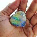 Heart Opal Gemstone Pendant 925 Silver Opal Necklace