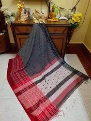 Party Wear Pompom Handloom Cotton Begampuri Degine Saree With Blouse, 6.3M