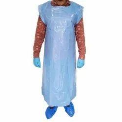 Blue Plain Plastic Apron, Size: Free Size
