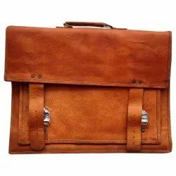 Brown Plain Leather Office Bag, Size: 16x10 Inch