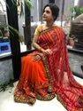 Present Designer Geoggat Saree With Kachhi Gamthi Work