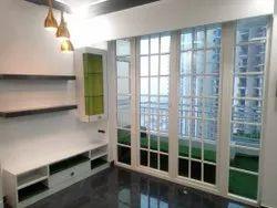 White Powder Coated Georgian Bar French UPVC Door, For Residential