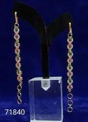 Drop Earring Golden Cz Mati Fashion Earrings