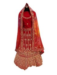 Valvat Wedding Wear Designer Red Velvet Lehenga Choli with Hand Work