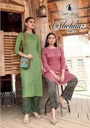 Ladies Flavour Shehnaz Vol 2 Rayon Dobby Kurti With Bottom Catalog
