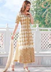 Chiffon Maci Ladies Designer Anarkali Salwar Suit, Machine wash