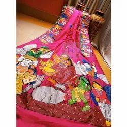 PC Party Wear Bishnupuri Pattachitra Silk Saree, 6.3 m (with blouse piece)