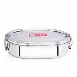 Stainless Steel Capsule Shaped Lunch Box with Steel Separator Plate