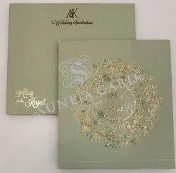 Embossed Mint Green Flower Motif Foil Printed Wedding Card Invitation Card