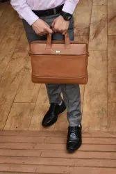 Steken Tan Brown Leather Laptop Bag