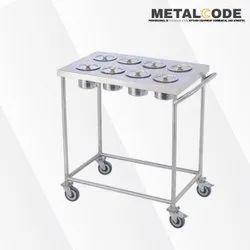 Metal Code Silver Stainless Steel Food Serving Trolley