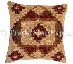 Handmade Jute Woven Kilim Cushion Cover 18x18 Sofa Throw Decoration Cushion Pillow Cover